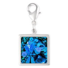 Blue Steampunk Dragonfly Silver Square Charm