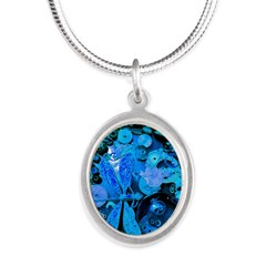 Blue Steampunk Dragonfly Silver Oval Necklace