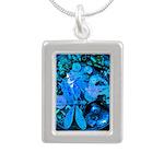 Blue Steampunk Dragonfly Silver Portrait Necklace