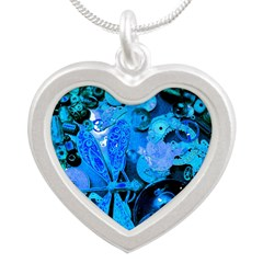Blue Steampunk Dragonfly Silver Heart Necklace