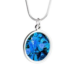 Blue Steampunk Dragonfly Silver Round Necklace