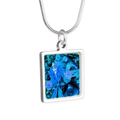 Blue Steampunk Dragonfly Silver Square Necklace