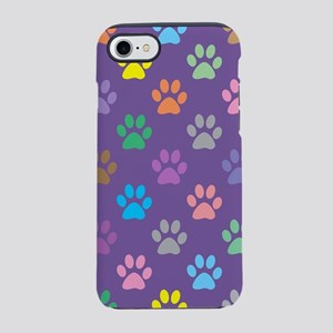 Colorful paw prints pattern iPhone 7 Tough Case