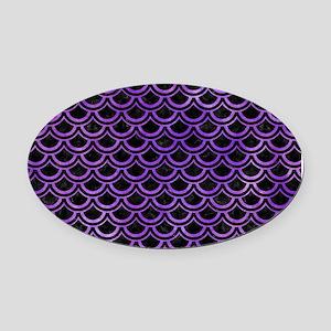 SCALES2 BLACK MARBLE & PURPLE WATE Oval Car Magnet