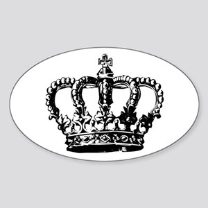 Black Crown Oval Sticker