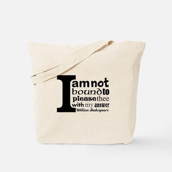"""""""No"""" a la Shakespeare Tote Bag"""