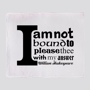 """No"" a la Shakespeare Throw Blanket"