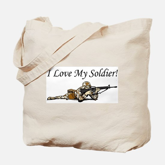 I love my soldier Army DCU's Tote Bag