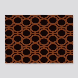 Smooth Brown and Black Eyelets 5'x7'Area Rug