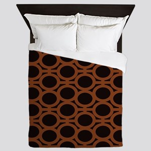 Smooth Brown and Black Eyelets Queen Duvet