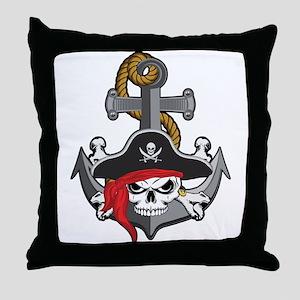 Pirate Skull Anchor Throw Pillow