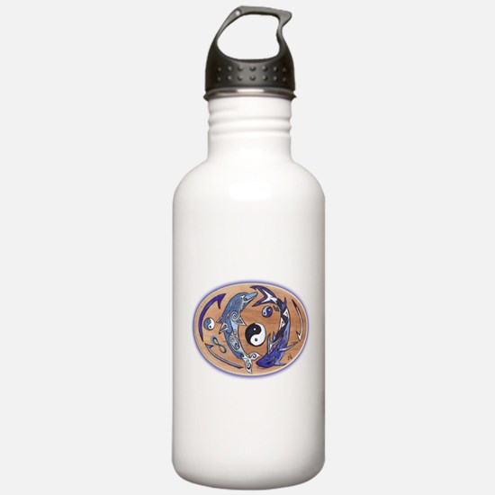 yin yang dolphin shark Water Bottle