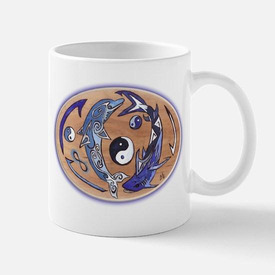 yin yang dolphin shark Mug