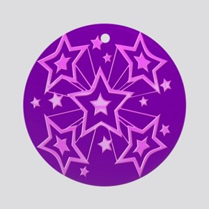 Pink and Purple Stars Ornament (Round)