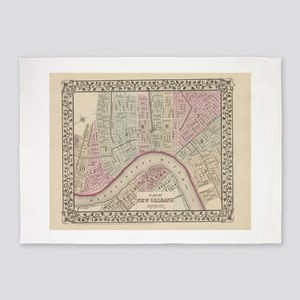Vintage Map of New Orleans (1880) 5'x7'Area Rug