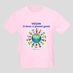 Vegan It Does A Planet Good Kids Light T-Shirt