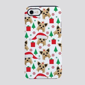Cute Yorkie Dog Christmas Prin iPhone 7 Tough Case