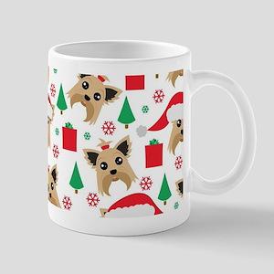 Cute Yorkie Dog Christmas Print 11 oz Ceramic Mug