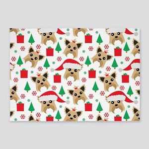 Cute Yorkie Dog Christmas Print 5'x7'Area Rug