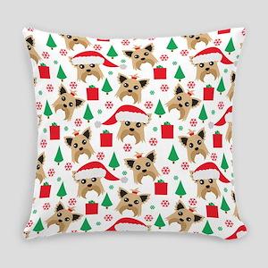 Cute Yorkie Dog Christmas Print Everyday Pillow
