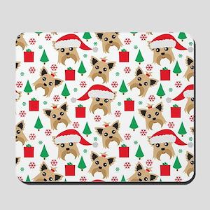 Cute Yorkie Dog Christmas Print Mousepad