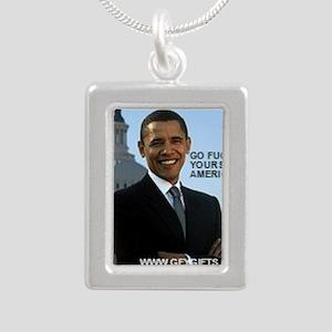Barack Hussein Obama GFY Silver Portrait Necklace