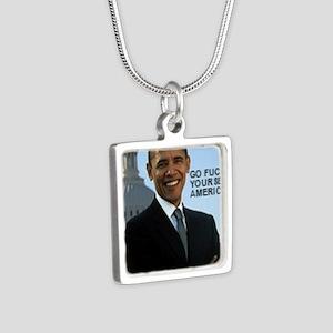 Barack Hussein Obama GFY Silver Square Necklace