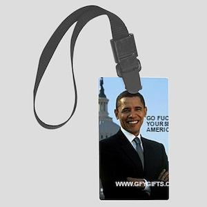 Barack Hussein Obama GFY Large Luggage Tag
