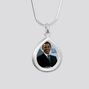 Barack Hussein Obama GFY Silver Teardrop Necklace