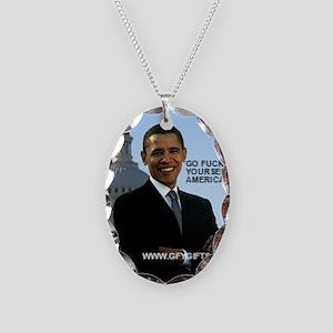 Barack Hussein Obama GFY Necklace Oval Charm