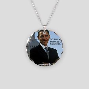 Barack Hussein Obama GFY Necklace Circle Charm