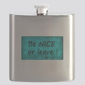 BE NICE OR LEAVE TURQUOISE Flask