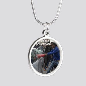 Douchebag GFY Silver Round Necklace
