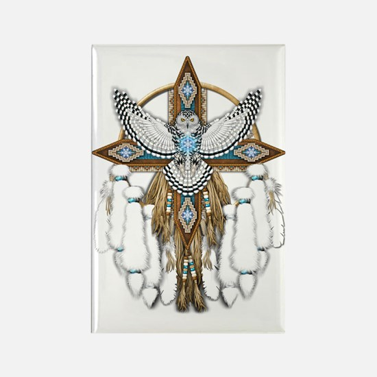 Snowy Owl Mandala Rectangle Magnet