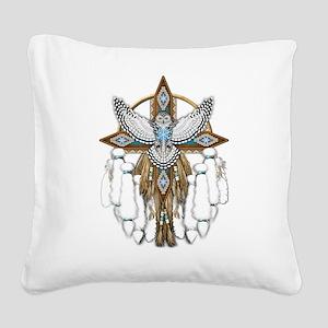 Snowy Owl Mandala Square Canvas Pillow