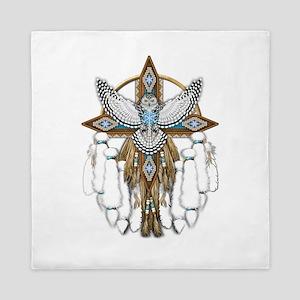Snowy Owl Mandala Queen Duvet