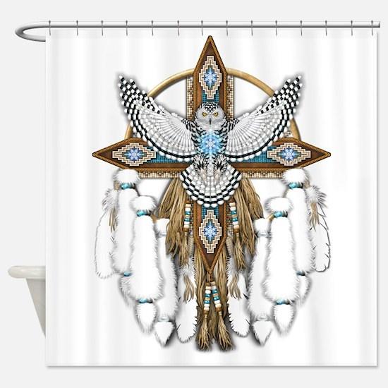 Snowy Owl Mandala Shower Curtain