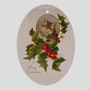 A Vintage Furry Christmas Oval Ornament