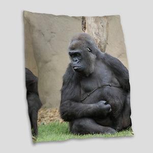 Gorilla Burlap Throw Pillow