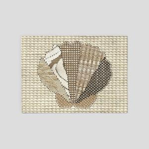 Stitched Faux Fabric Scallop Seashe 5'x7'Area Rug
