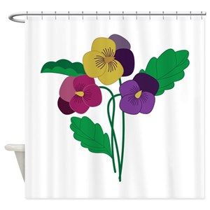 Red Pansy Flowers Shower Curtains