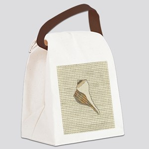 Stitched Faux Fabric Whelk Seashe Canvas Lunch Bag