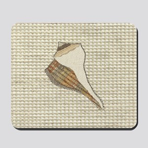 Stitched Faux Fabric Whelk Seashell  Mousepad