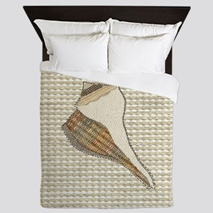 Stitched Faux Fabric Whelk Seashell  Queen Duvet