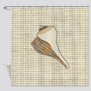 Stitched Faux Fabric Whelk Seashell Shower Curtain