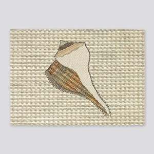 Stitched Faux Fabric Whelk Seashell 5'x7'Area Rug