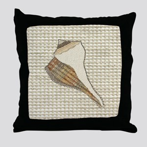 Stitched Faux Fabric Whelk Seashell Throw Pillow