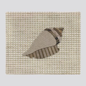 Stitched Faux Fabric Collage Seashel Throw Blanket