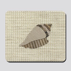 Stitched Faux Fabric Collage Seashell Co Mousepad