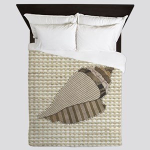 Stitched Faux Fabric Collage Seashell  Queen Duvet